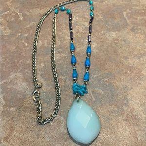 Loft long tear drop pendant multi bead necklace